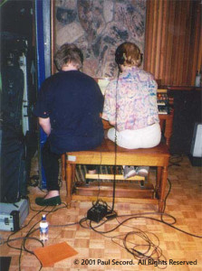 Alan and Chris at the Hammond Organ during the sessions for Magnification.