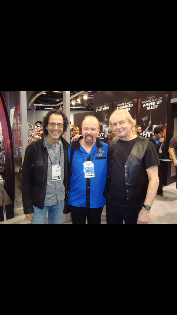 My first drummer, Joe Franco, and Alan White, my current drummer